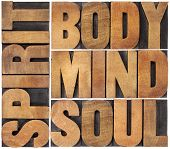 body, mind, soul and spirit word abstract - a collage of isolated text in vintage wood letterpress p