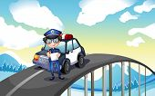 Illustration of an officer and his patrol car in the middle of the road