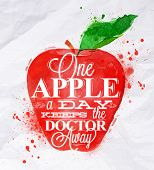 Poster Fruit Apple Red