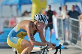 DNEPROPETROVSK, UKRAINE - MAY 24, 2014: Diana Mashevska of Ukraine races in the cycling stage of ETU