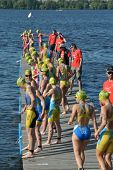 DNEPROPETROVSK, UKRAINE - MAY 24, 2014: Female athletes on the start of ETU Sprint Triathlon Europea