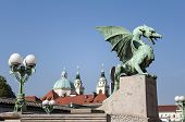 pic of nicholas  - Dragon Bridge with St Nicholas Cathedral in the background in Ljubljana Slovenia - JPG