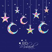 Eid Mubarak celebrations greeting card design with hanging colorful stars and moon on blue backgroun