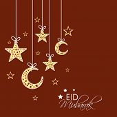 Beautiful greeting card design with hanging moon and star shapes on brown background for celebration of Muslim community festival Eid Mubarak.