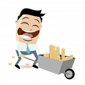 businessman with money in wheelbarrow