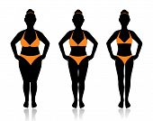 stock photo of emaciated  - female silhouette in a bathing suit at a different weight and the effect of diet - JPG