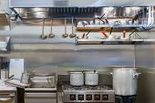 image of food preparation tools equipment  - Professional kitchen with tools in a restaurant - JPG