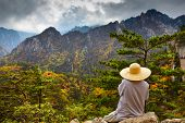 Buddhist monk meditation at seorak mountains at the Seorak-san National Park, Soraksan, South korea