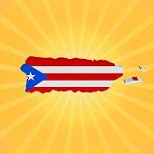 Puerto Rico map flag on sunburst illustration