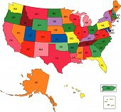 stock photo of united states map  - Vector map of United States broken down by states - JPG