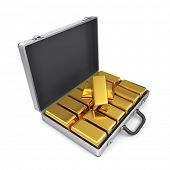Metal case with gold bars.