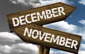 Time concept on wooden sign, December x November