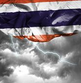Thailand waving flag on a bad day