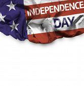 USA Independence Day waving flag isolated on white background