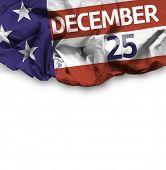 USA December 25, comemorative flag on white background