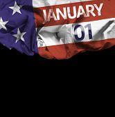 USA January, 01 comemorative flag on black background