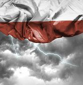 Poland waving flag on a bad day