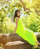 Beautiful Pregnant Woman In Dress In The Fabulous Forest