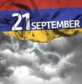 21 September Independence of Armenia waving flag on a bad day