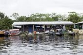 MANAUS, BRAZIL - CIRCA JAN 2014: Floating houses in Manaus, Amazon, Brazil