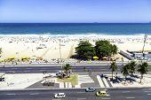 RIO DE JANEIRO, BRAZIL - CIRCA NOV 2013: The Copacabana Beach in Rio de Janeiro, Brazil