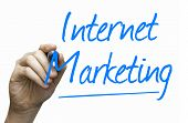 Internet Marketing hand writing with a blue mark on a transparent board
