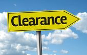 Clearance creative sign on a beautiful day