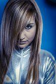 Future.Fiber Optic concept, woman with modern lights