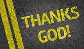 Thanks God! written on the road
