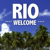 Rio, Welcome written on a beautiful beach background