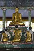 Gold Budda and three prayers