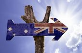 Australia wooden sign on a beautiful day