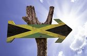 picture of rastafari  - Jamaica wooden sign on a beautiful day - JPG
