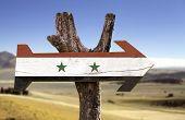 stock photo of euphrat  - Syria wooden sign with a desert background - JPG