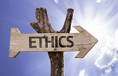 stock photo of ethics  - Ethics wooden sign on a beautiful day - JPG
