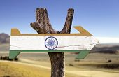 India wooden sign with a desert background