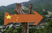 China wooden sign with a Great Wall background