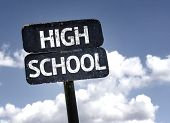 High School sign with clouds and sky