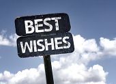 Best Wishes sign with clouds and sky