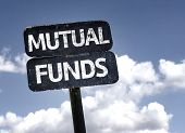 Mutual Funds sign with clouds and sky background