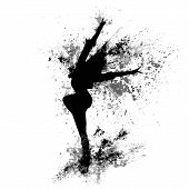 stock photo of break-dance  - dancing girl black splash paint silhouette isolated white background - JPG