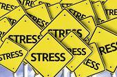 Stress written on multiple road sign