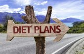 Diet Plans wooden sign with a street on background