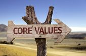 Core Values wooden sign with a desert background