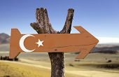 Turkey wooden sign with a desert background