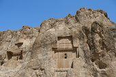 pic of xerxes  - Grave of king Daeiros carved in rock near Persepolis - JPG