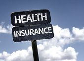 Health Insurance sign with clouds and sky background