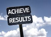 Achieve Results sign with clouds and sky background