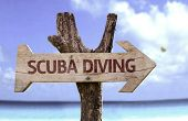 picture of watersports  - Scuba Diving wooden sign with a beach on background  - JPG