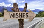 Wishes wooden sign with a street background